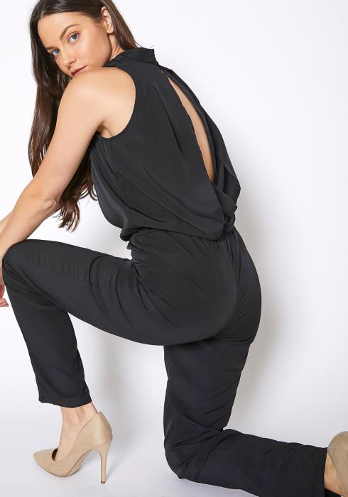 RO & DE Light Formal Black Sleeveless Jumpsuit
