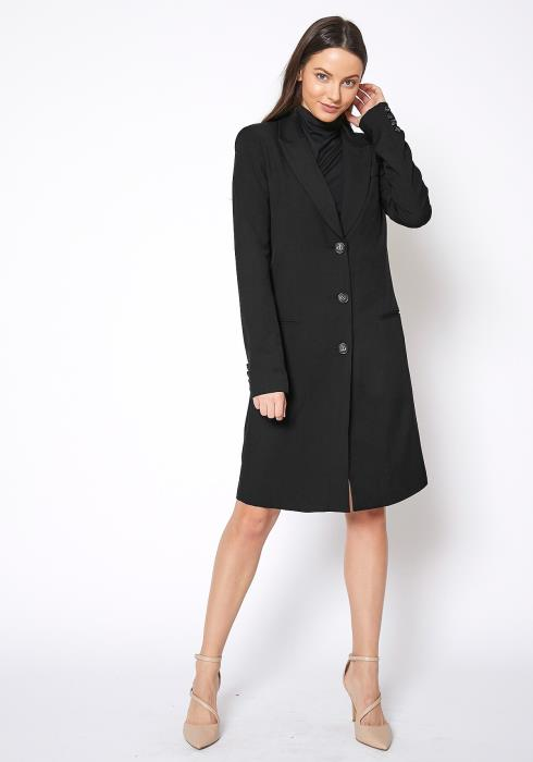 RO & DE Notch Lapel Longline Button Front Jacket