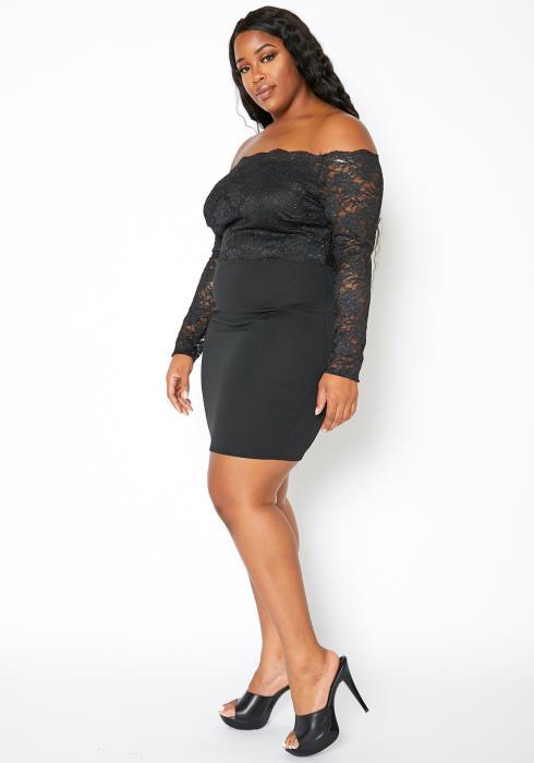 Asoph Plus Size Off Shoulder Lace Contrast Womens Bodycon Dress