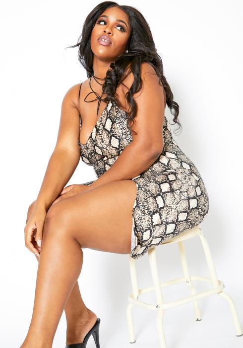 Asoph Plus Size Soft Ribbed Womens Snakeskin Cami Dress