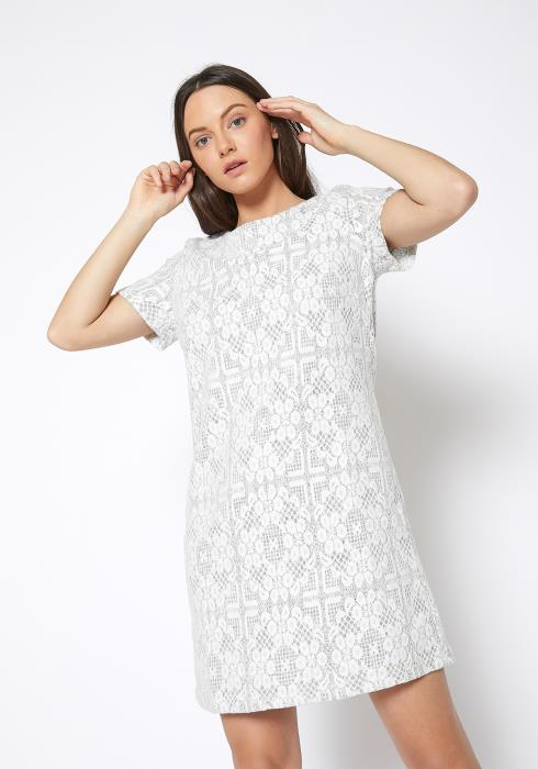 RO & DE Flower Embossed Shift Dress