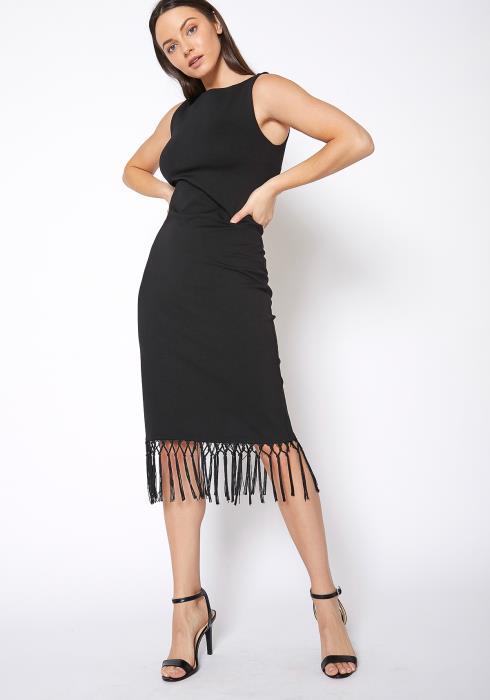 RO & DE Tassel Hem Sleeveless Midi Bodycon Dress
