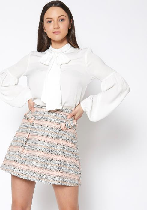 RO & DE Womens Tie Neck Button Up Blouse