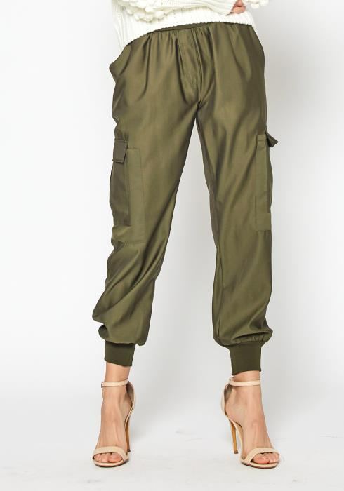 Tansy High Waisted Womens Olive Cargo Pants