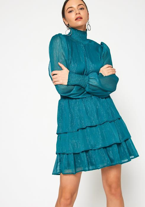 Tansy Shimmering Teal Womens High Neck Ruffle Chiffon Dress
