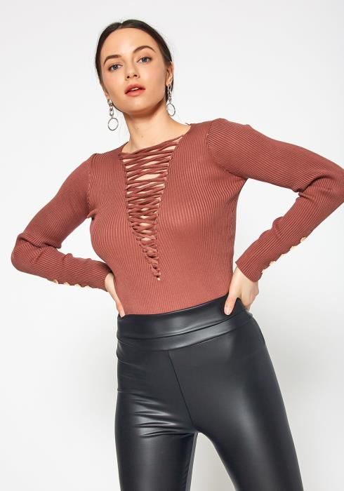 Tansy Front Cross Laced Womens Fitted Long Sleeve Top