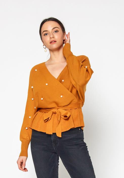 Tansy Pearl Studded Womens Peplum Sweater