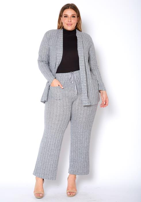 Pleione Plus Size High Waist Ribbed Knit Straight Pants