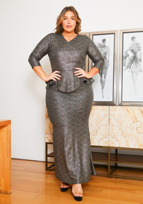 Asoph Plus Size Metallic Peplum Evening Maxi Gown