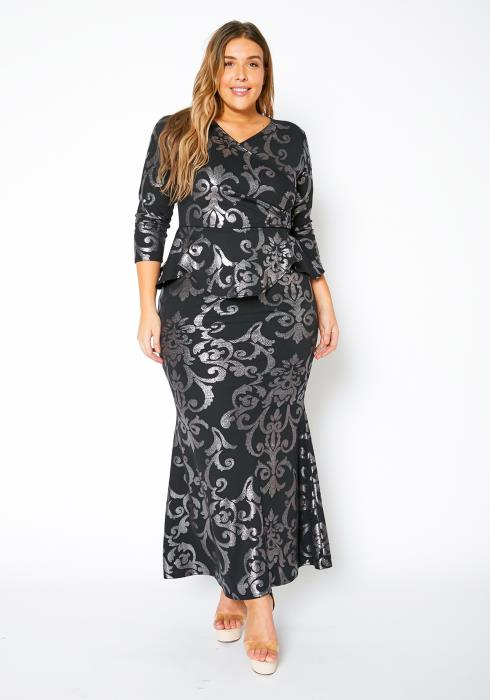 Asoph Plus Size Womens Iridescent Mermaid Maxi Gown
