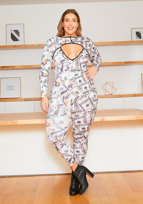 Asoph Plus Size Money Printed Keyhole Jumpsuit