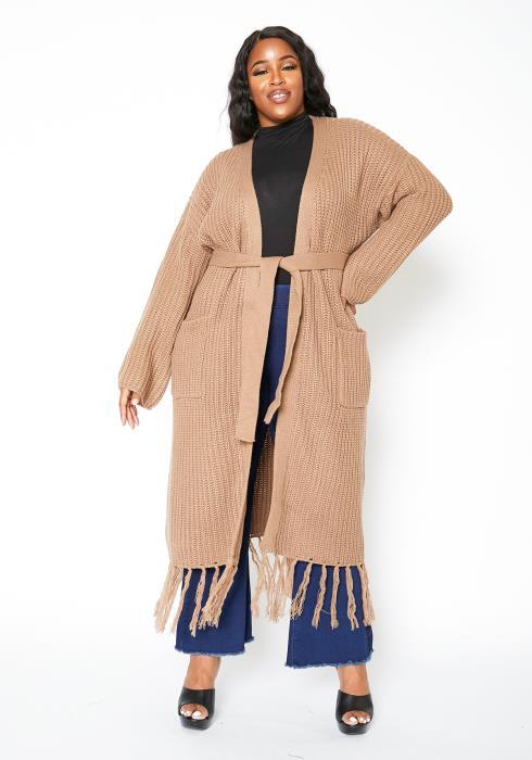 Asoph Plus Size Fringe Hem Longline Sweater Cardigan
