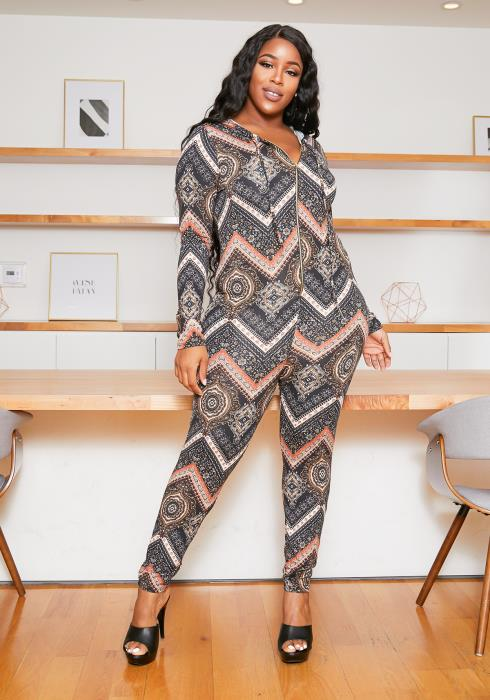 Asoph Plus Size Chevron Medallion Jumpsuit