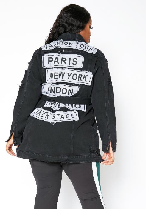Asoph Plus Size Womens Fashion Tour Longline Denim Jacket