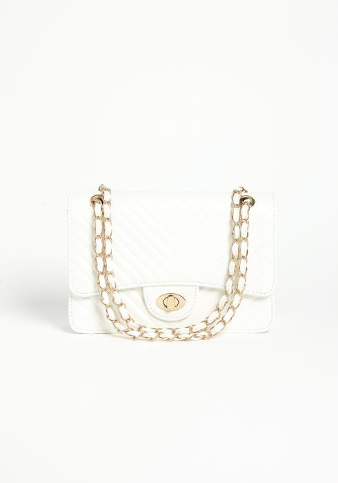Asoph Cream White Gold Crossbody Clutch Bag