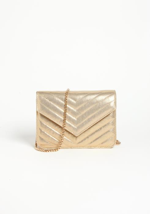 Asoph Metallic Gold Crossbody Envelope Bag