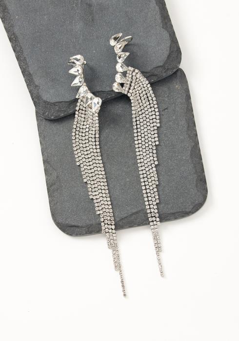 Asoph Marseille Silver Rhinestone Wing Drop Earrings