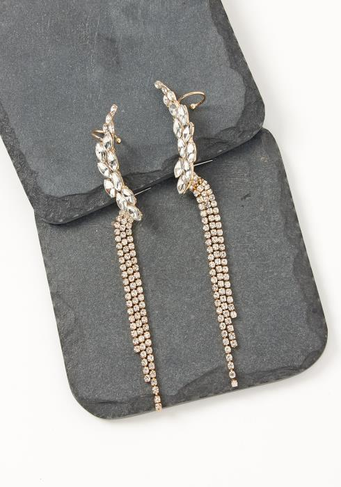 Asoph Iris Silver Rhinestone Ear Cuff Drop Earrings