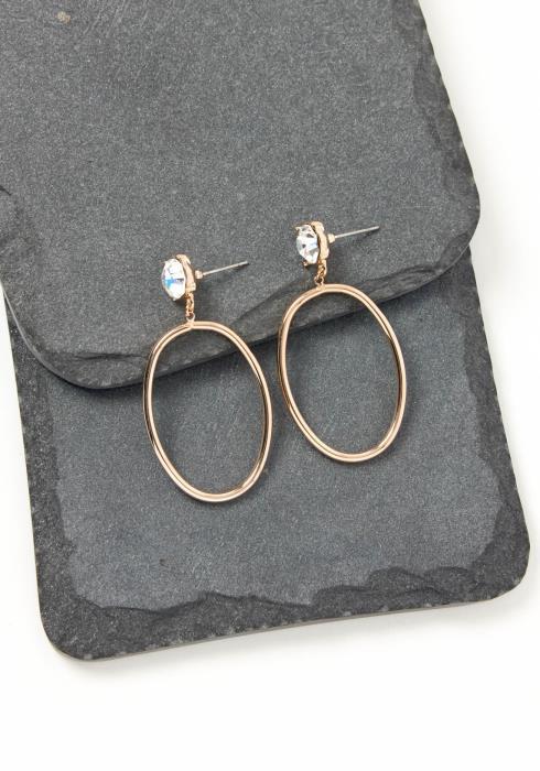 Asoph Aventura Silver Crystal Oval Hoop Earring