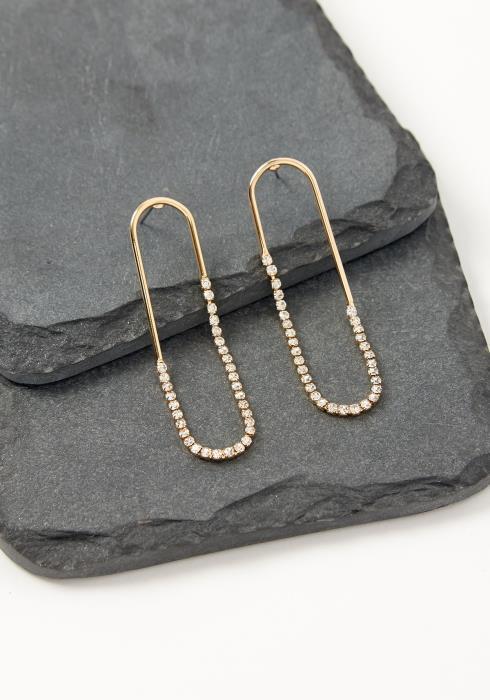 Asoph Vienna Rhinestone Paperclip Stud Earrings