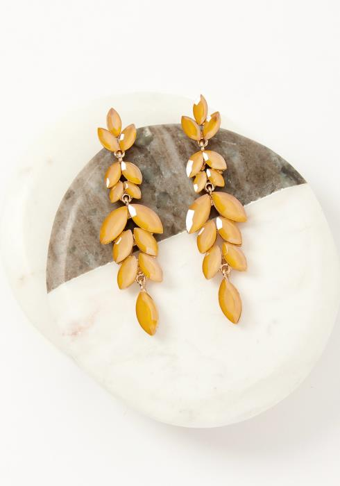 Asoph Monticello Orange Leaf Drop Earrings