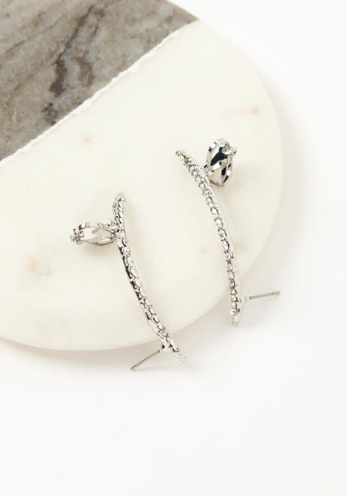 Asoph Hamilton Silver Crystal Crawler Cuff Earrings