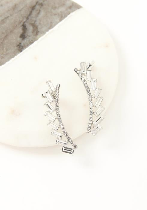 Asoph Halifax Contrast Silver Crystal Crawler Cuff Earrings