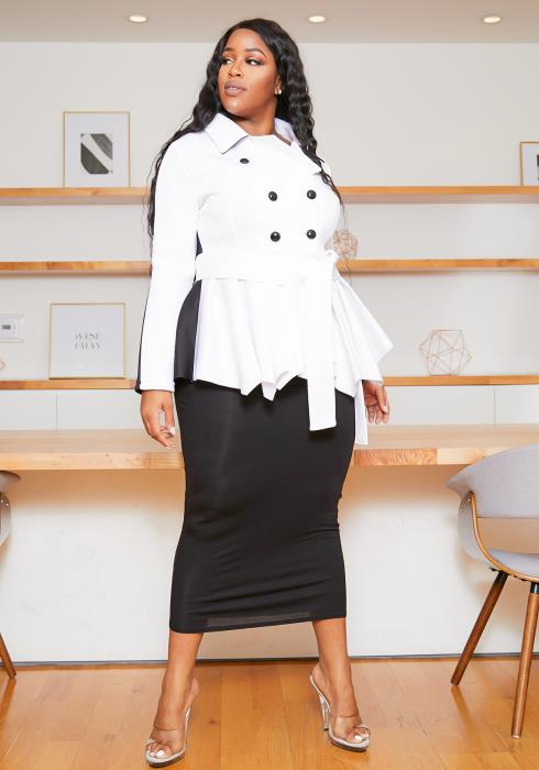 Asoph Plus Size Boss Lady Double Breasted Peplum Collar Top