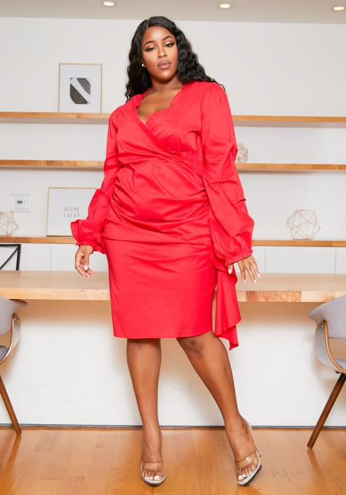 Asoph Plus Size One Of A Kind Womens Red Midi Dress