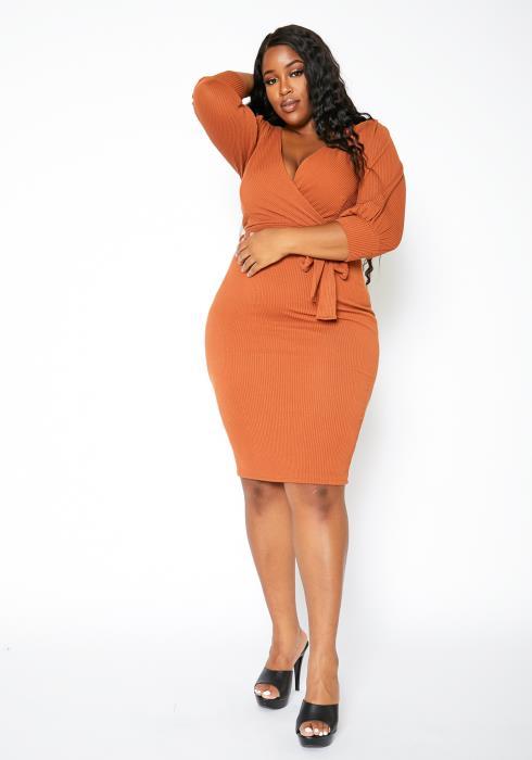 Asoph Plus Size Rustic Tan Womens Ribbed Bodycon Dress