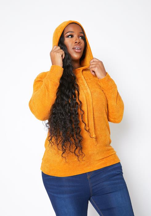 Asoph Plus Size Womens Chenille Hooded Sweater