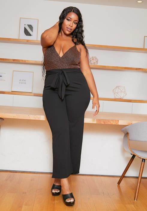 Asoph Plus Size Lurex Trim Jumpsuit