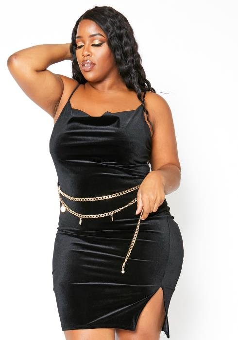 Asoph Plus Size Velvet Cowl Neck With Chain Waistlet Mini Dress