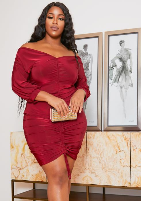 Asoph Plus Size Ruched Drawstring Womens Off Shoulder Classy Dress
