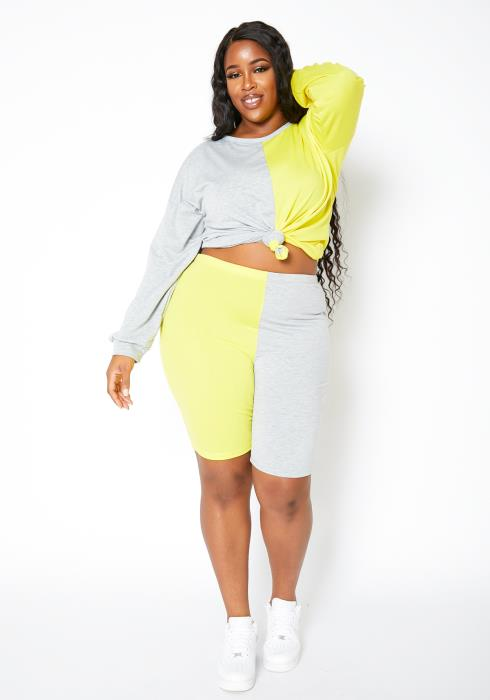 Asoph Curvy Womens Half Yellow Crew Sweater & Biker Shorts Set