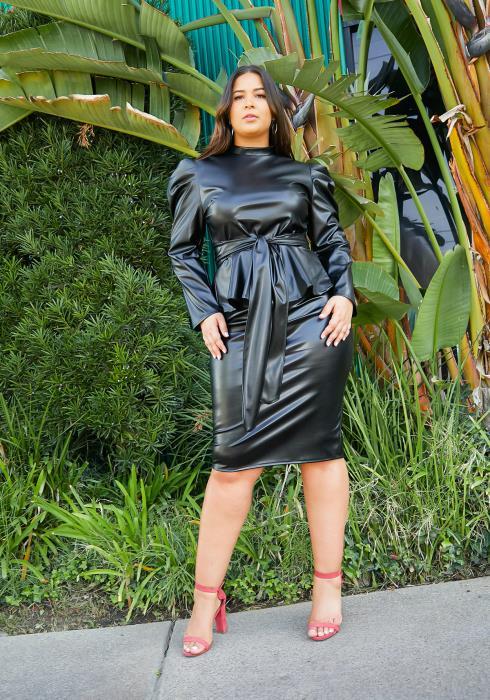 Asoph Curvy Womens PU Leather Peplum Top & Midi Skirt Set