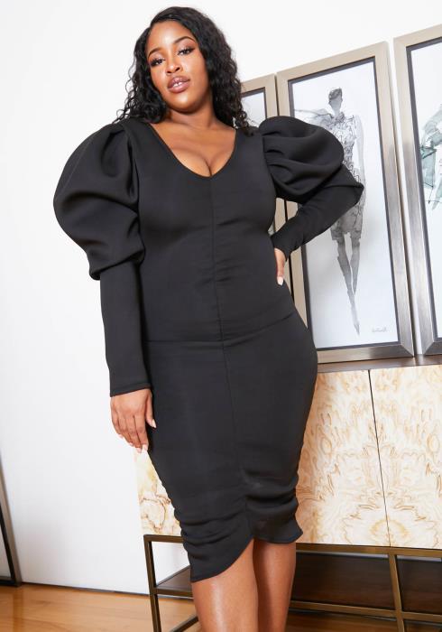 Asoph Plus Size Womens Elegant Puff Shoulder Bodycon Party Midi Dress