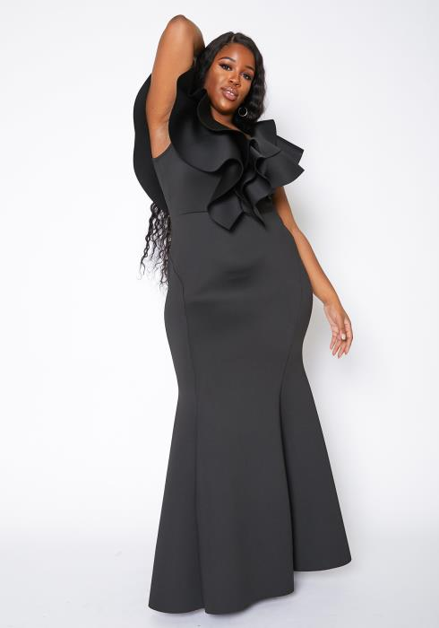 Asoph Curvy Womens Extravagant Ruffle Hem Party Maxi Gown
