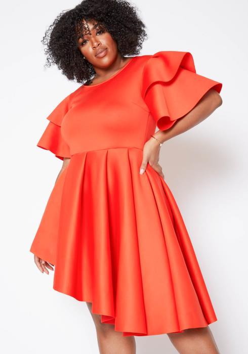 Asoph Plus Size Asymmetric High Low Impression Dress