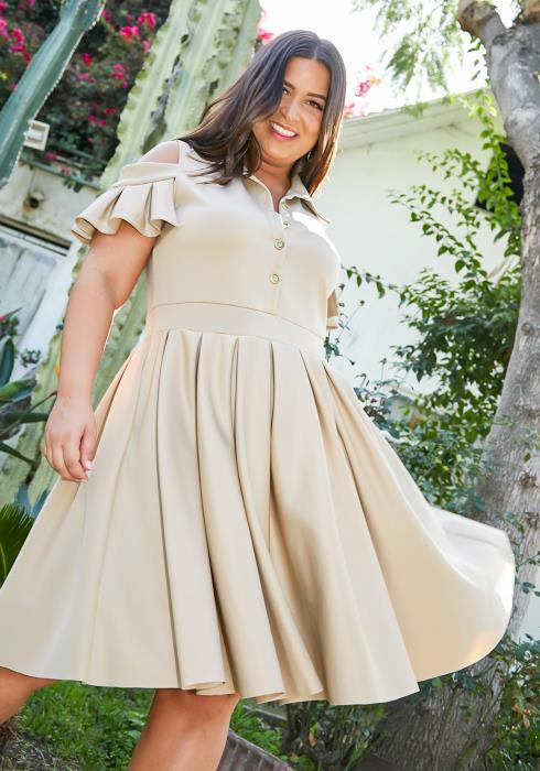 Asoph Plus Size Cold Shoulder Womens Fit & Flare Collar Dress