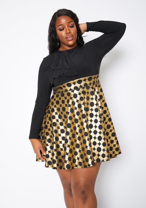Asoph Plus Size Gold Foil Contrast Fit & Flare Mini Dress