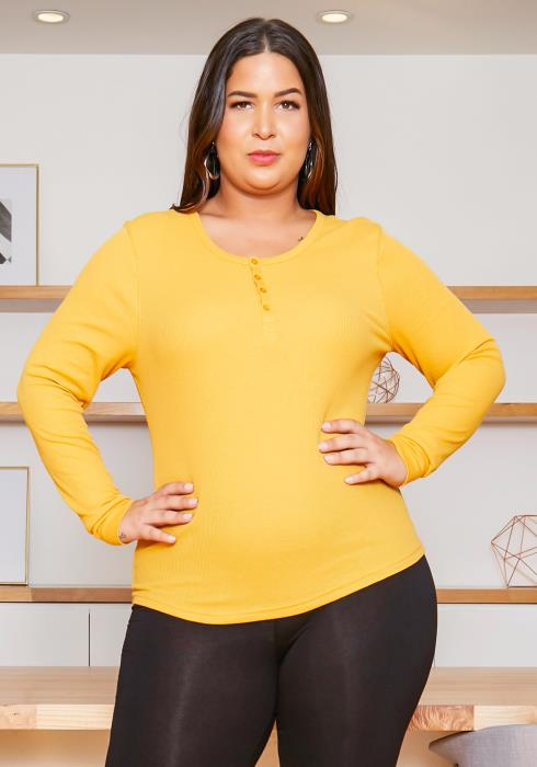 Asoph Plus Size Everyday Basic Womens Long Sleeve Top