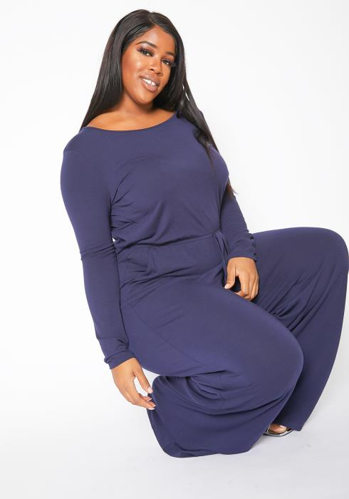 Asoph Plus Size Everyday Basic Long Sleeve Flared Jumpsuit