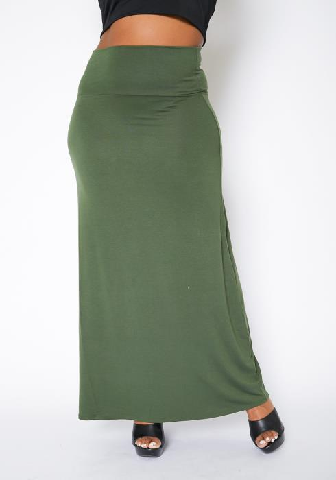 Asoph Curvy Womens Basic High Waisted Maxi Skirt