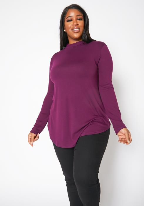 Asoph Plus Size Everyday Basic Mock Neck Womens Top