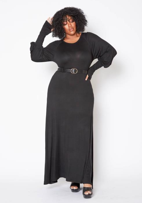 Asoph Plus Size Simple Long Sleeve Women Maxi Dress