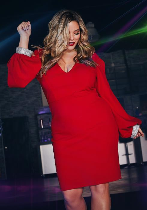 Asoph Plus Size Womens Diamond Hinted Red Party Dress