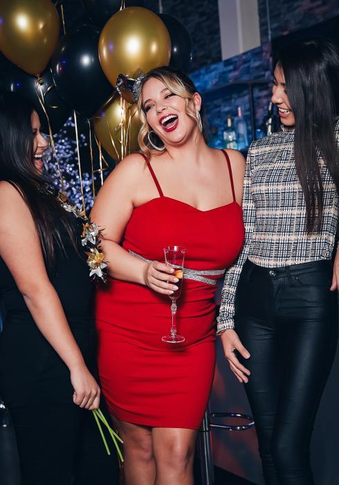 Asoph Curvy Womens Diamond Trimmed Cami Red Dress