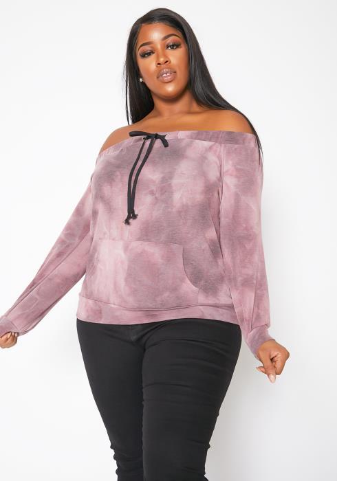 Asoph Plus Size Off Shoulder Drawstring Tie Dye Sweater