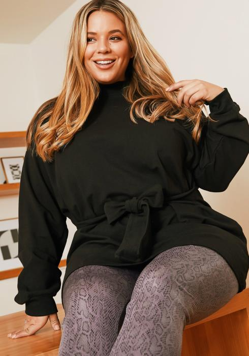 Asoph Plus Size Womens Knot Front Crew Neck Sweater